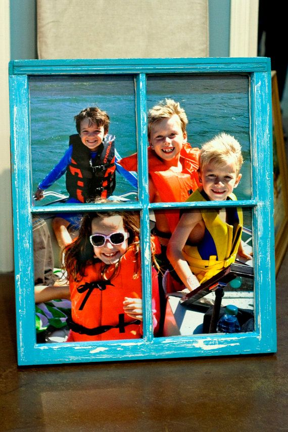 Old Vintage Window including your Photo, Distressed Chalk Paint Finish, Tiffany Blue