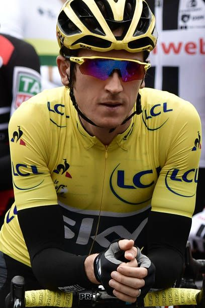 Great Britain's Geraint Thomas wearing the overall leader's yellow jersey waits for the start of the 2035 km second stage of the 104th edition of the...