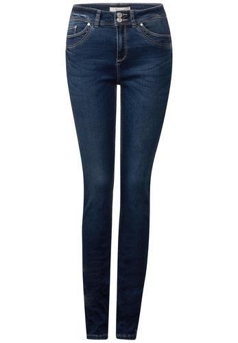#STREET #ONE #Damen #Weiche #High #Waist #Jeans #Yoko #dunkelblau Slim Fit Jeans Denim mit softem Griff in leicht gewaschenem Dunkelblau mit hoher Taille und schHerrenn Beinen: das Modell Yoko von Street One. Die Slim Fit Jeans Jeans in schlanker Passform hat eine hohe Taille und schHerren, körpernah geschnittene Beine. Tragefreundliches Lyocell, softe Viskose und etwas Stretch im weichen Baumwollmix sorgen für den soften Griff der Denim, machen sie bequem bei optiHerrenm Sitz und bieten…
