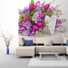 Fototapeta na ścianę - Herzliche Blumengrusse   Photograph wallpaper - flower bouquet   104PLN #fototapeta #dekoracja_ściany #home_decor #interior_decor #photograph_wallpaper #wallpaper #flower #bouquet #bukiet_na_ścianie