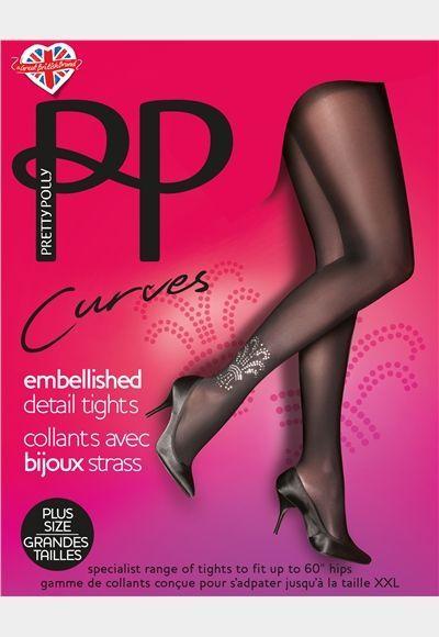 """Embellished Detail Tights. Deze leuke 80 denier panty uit de """"Curves"""" serie is speciaal voor dames met een maatje meer!"""