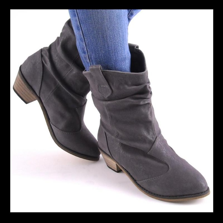 new gray western slouch ankle boots