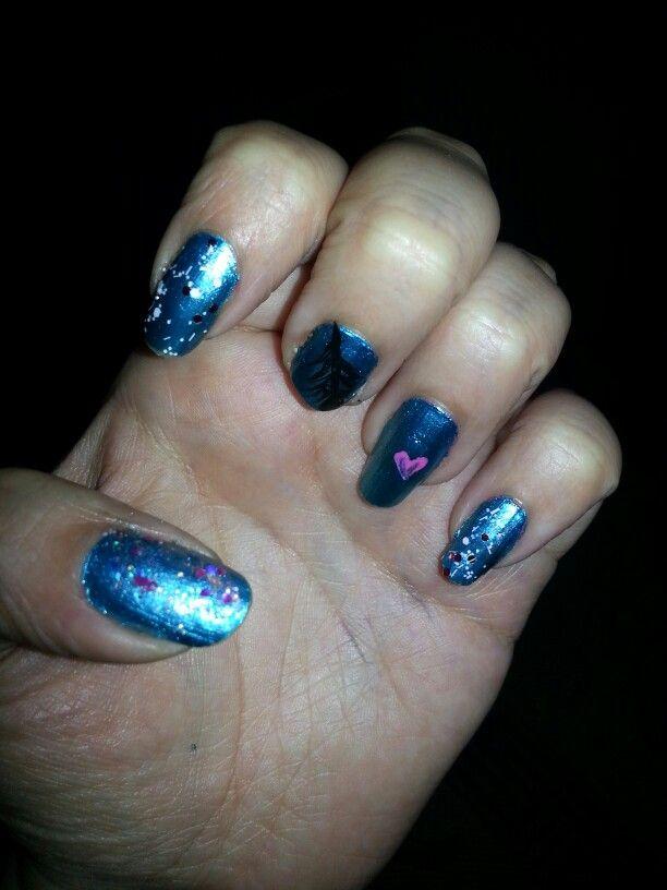 #Nail #Esmalte #Uñas #Nice #Polish #Cute #Blue #Azul #Tachas #Brillos