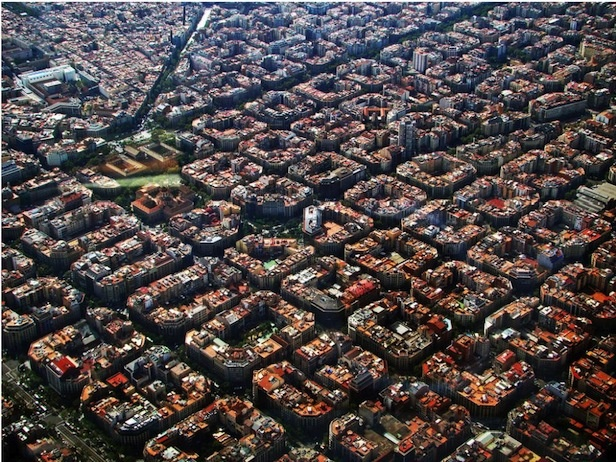 Barcelona's aerial view. It seems like giant sushis.