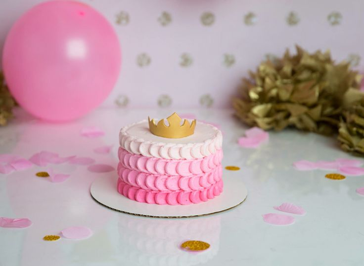 Princess smash cake. Pink Ombré buttercream & gold fondant crown