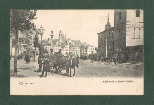 Warszawa Krakowski Przedmieście 1904 Vintage postcard, Alte postkarte aus Warschau, stara pocztówka, Warszawa