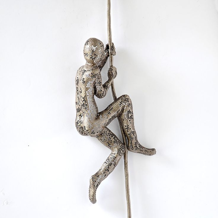 Climbing Figure on the rope - metal wall art - Unique gift - wire mesh sculpture - Climbing man sculpture. $95.00, via Etsy.
