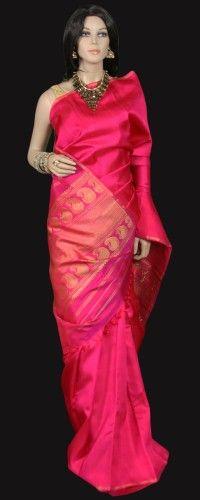 Elegant Magenta Pink Kanjeevaram Saree