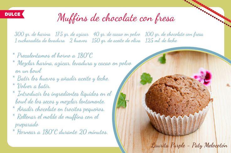 Recetas fáciles: Muffins de chocolate con fresa