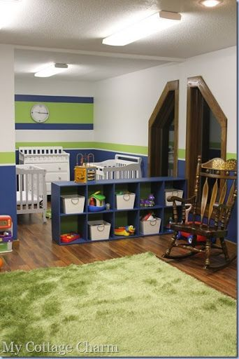church nursery ideas. I like the changing table and crib location. Shelve dividing room, play area