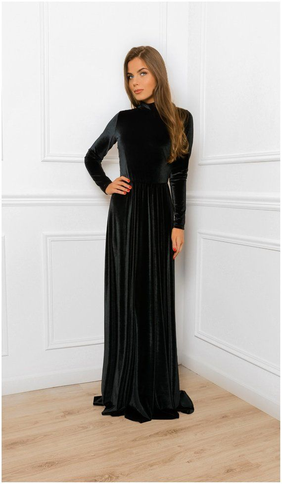 c59872e8f5b Keyhole Back Velvet A- Line Maxi Dress   With Turtleneck Long Sleeve ...