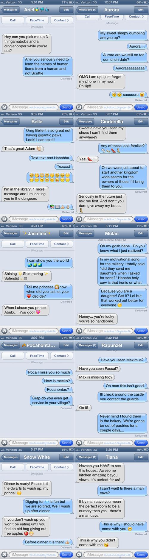 OMG these are too good! What happens when Disney princesses text their princes. Via @MissMaceyMouse