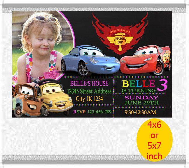 Cars Birthday Invite, Disney Cars Invitation, Chalkboard Custom Birthday Invitation, Cars Party Invites, Cars Lightening McQueen Invitation by RipoArtShop on Etsy