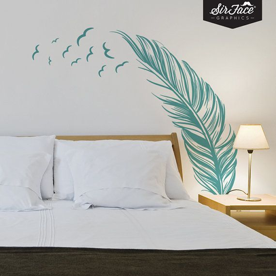 Feather And Birds Wall Decal Bedroom Wall By SirFaceGraphics, £36.00 |  Downstairs Bedroom | Pinterest | Bird Wall Decals, Bedroom Wall And Wall  Decals