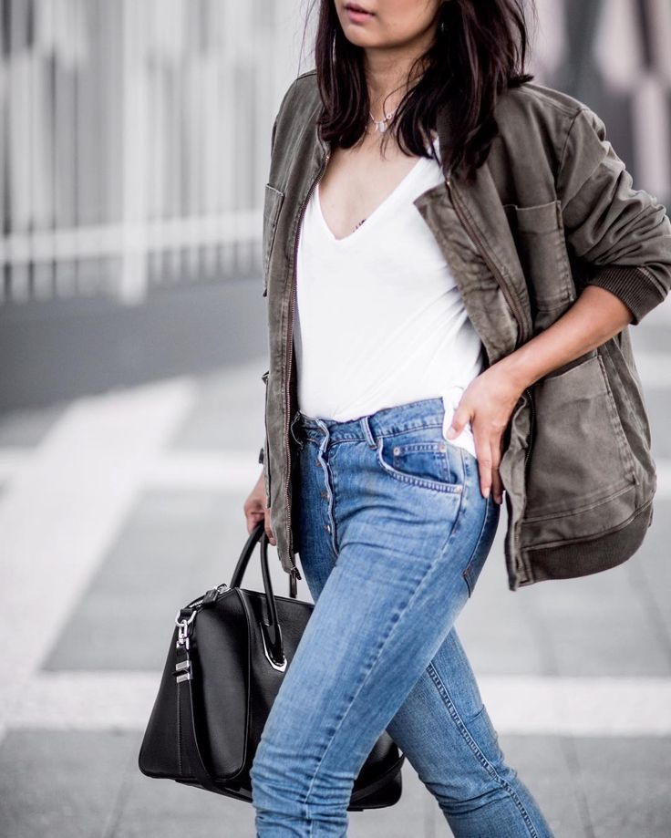 From @Beigerenegade Instagram - Minimal Life and Style Inspiration Source Army bomber and mom jeans the easiest off duty. @aninebing #aninebing #givenchy #antigona  @janetakethphotos