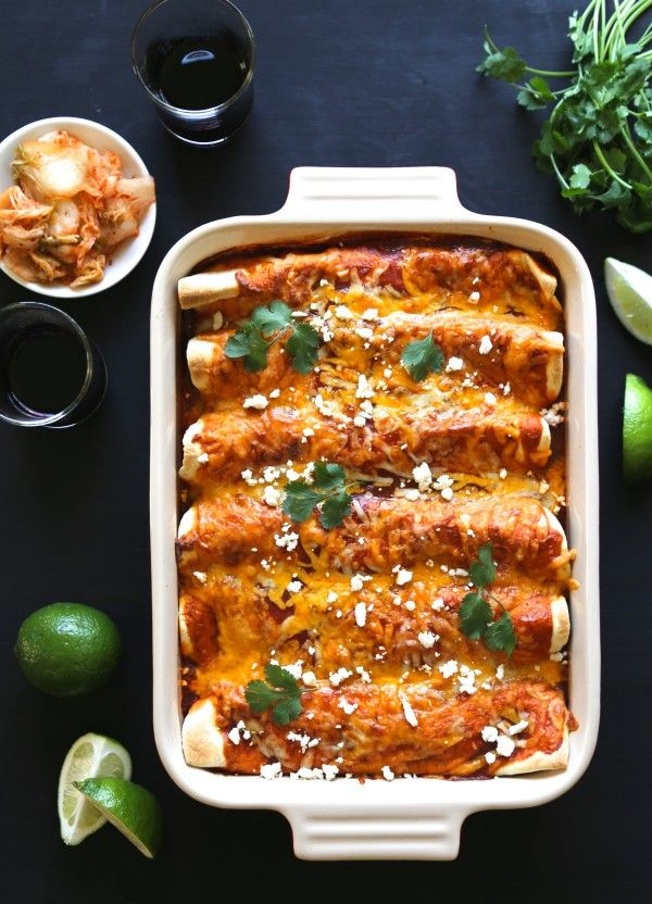 kimchi pork enchiladas with queso fresco