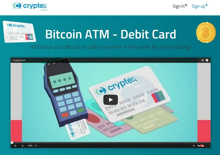 Cryptex Bitcoin Debit Card 'Works on 90 of US ATMs