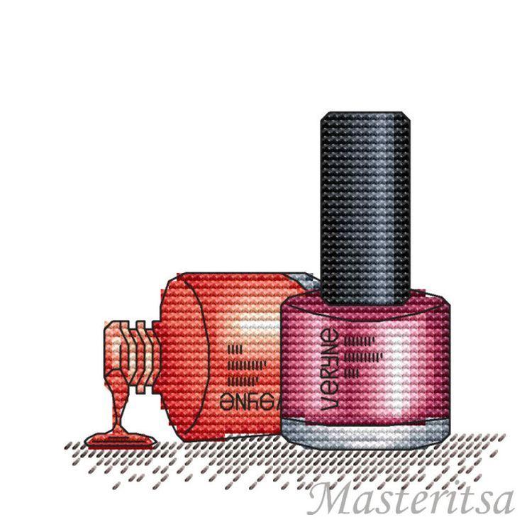 point de croix vernis à ongles - cross stitch nail polish