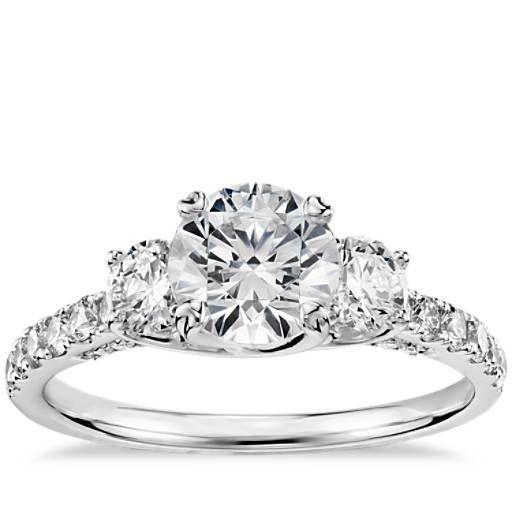 Perfection.  Truly Zac Posen Three-Stone Trellis Diamond Engagement Ring in Platinum (3/4 ct. tw.)