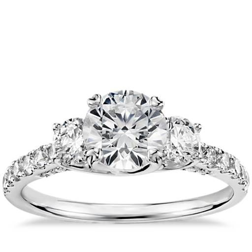 Perfection.  Truly Zac Posen Three-Stone Trellis Diamond Engagement Ring in Platinum (3/4 ct. tw.)