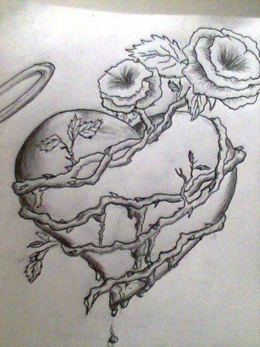Resultado De Imagen Para Rosas Corazon Y Espinas A Lapiz Faciles