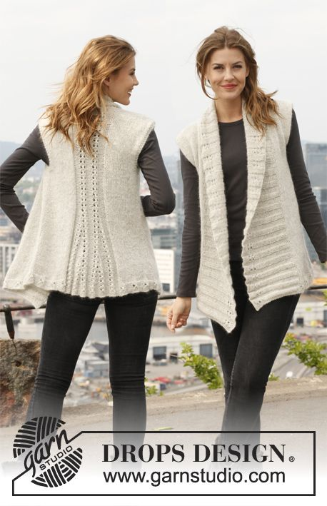 "Knitted DROPS vest in ""Alpaca"" and ""Kid-Silk"". ~ DROPS Design"