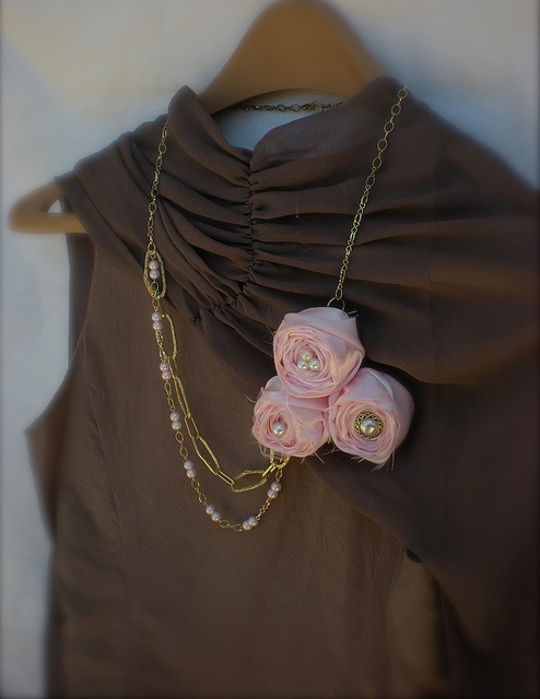 Pink Fabric Flower Necklace