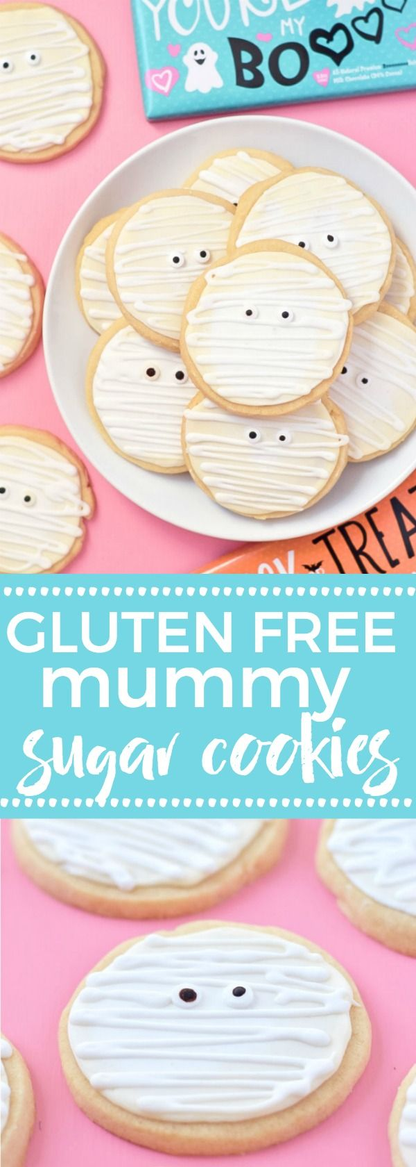 Gluten Free Mummy Cookies are a fun treat for Halloween parties. Made with gluten free and dairy free sugar cookies and an easy royal icing for decorating. Recipe from @whattheforkblog | whattheforkfoodblog.com