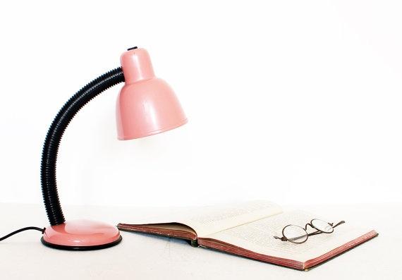 Vintage pink gooseneck desk lamp by AnnaLouVintage on Etsy, $29.99