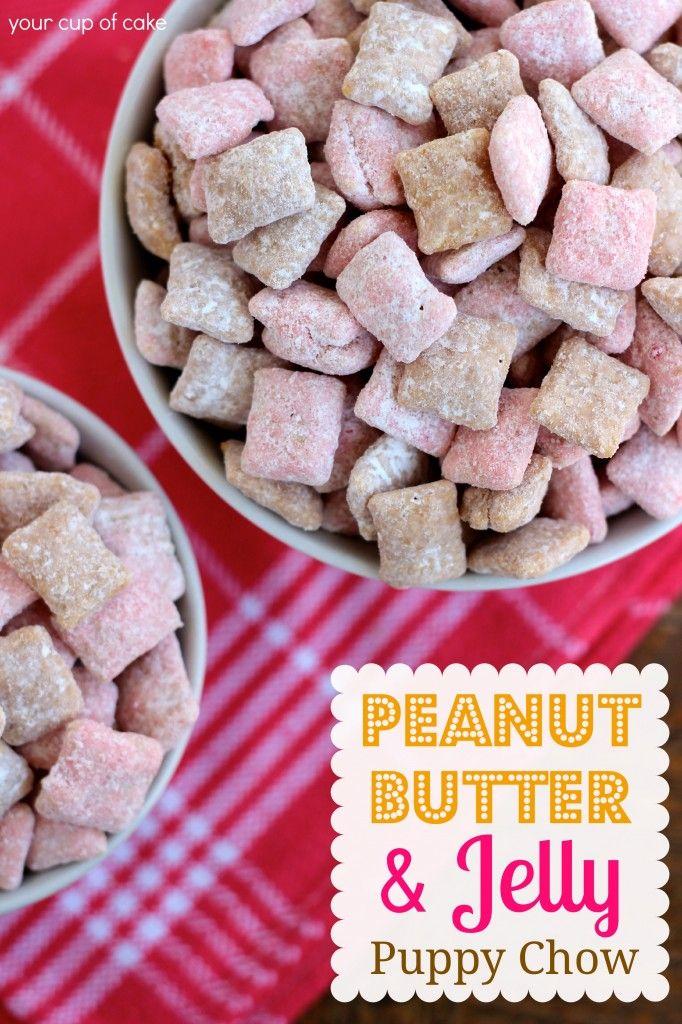 Peanut Butter & Jelly Puppy Chow Ingredients  Peanut Butter Chow:   1 C. peanut butter baking chips   1/3 C. creamy peanut butter   1 tsp. vanilla extract   8 C. Rice Chex cereal   1 1/4 C. powdered sugar     Jelly Chow:   1 1/2 C. white chocolate melts (or chips, if you use chips add 3 Tbsp. butter)   8 C. Rice Chex cereal   1 C. strawberry cake mix (just the powdered mix)