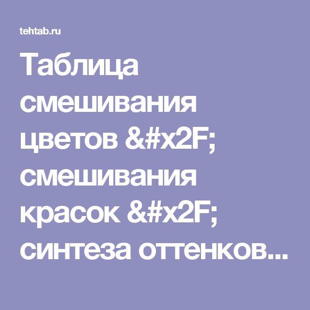 Таблица смешивания цветов / смешивания красок / синтеза оттенков позволяет узнать, как при смешивании двух и более цветов и оттенков получить нужный.  - таблицы Tehtab.ru