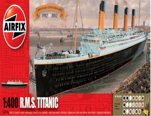 The Airfix RMS Titanic Gift Set in 1/400 scale from the Airfix Gift Set range accurately recreates the famous ocean-liner.    This plastic ship kit comes with all the paint and glue required to complete the model.