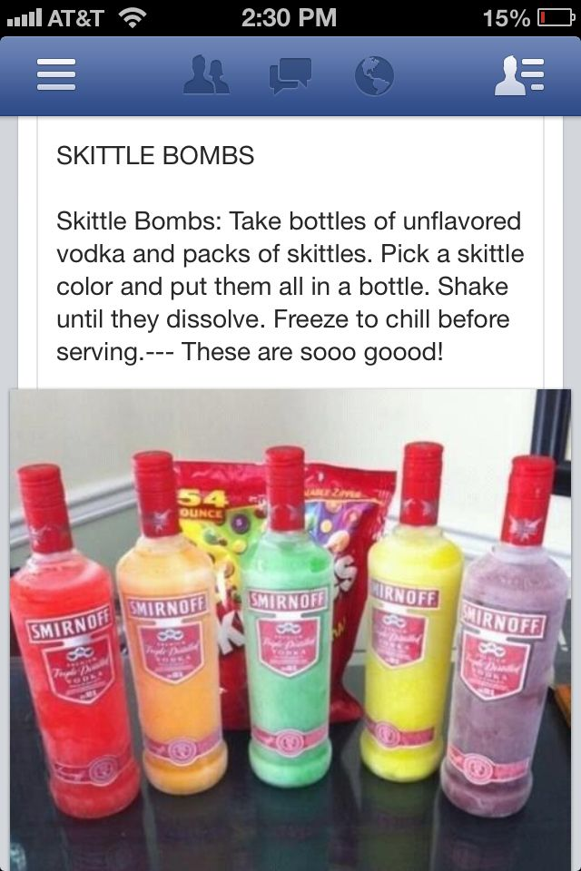 Gna hav ta try dis w my fwends! Mixed drink, adult beverage, skittles & vodka! Great idea