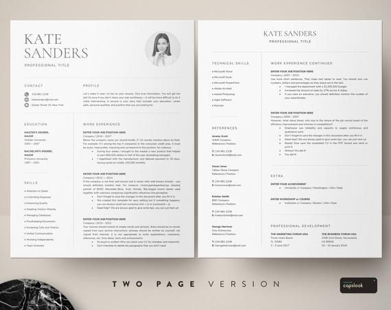 Cv Template Resume Template With Photo Professional Resume Etsy Microsoft Word Open Office Diseno De Branding