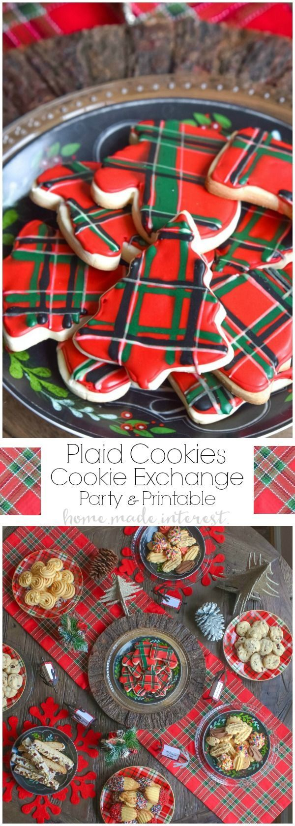 We are Mad for plaid this year and we turned that into a theme for our Christmas cookie exchange. Plaid table decorations, free cookie exchange recipe cards, and plaid sugar cookies. Check out how to host a cookie exchange and download our free printable recipe cards for your next party. #SharetheHoliday | AD