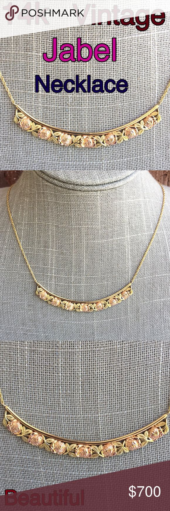 """14k Yellow/ Rose Gold Vintage Jabel Rose Necklace Amazing 14k Solid Yellow w/ Rose Gold Vintage Jabel Unique Design Rose Necklace. Measures 17.5"""" long. Weight 10.45 grams. Marked 14k Jabel. Preowned/ Preloved  May Show Slight Signs Of Being Worn. Listing Images Are Of The Item Being Offered. If you love unique vintage jewelry, this necklace is for you! Just Beautiful! Plz ask all ?'s b4 purchase. I ship same day. Buy w/ confidence 420+ 5 star feedback. Please make any reasonable offers using…"""