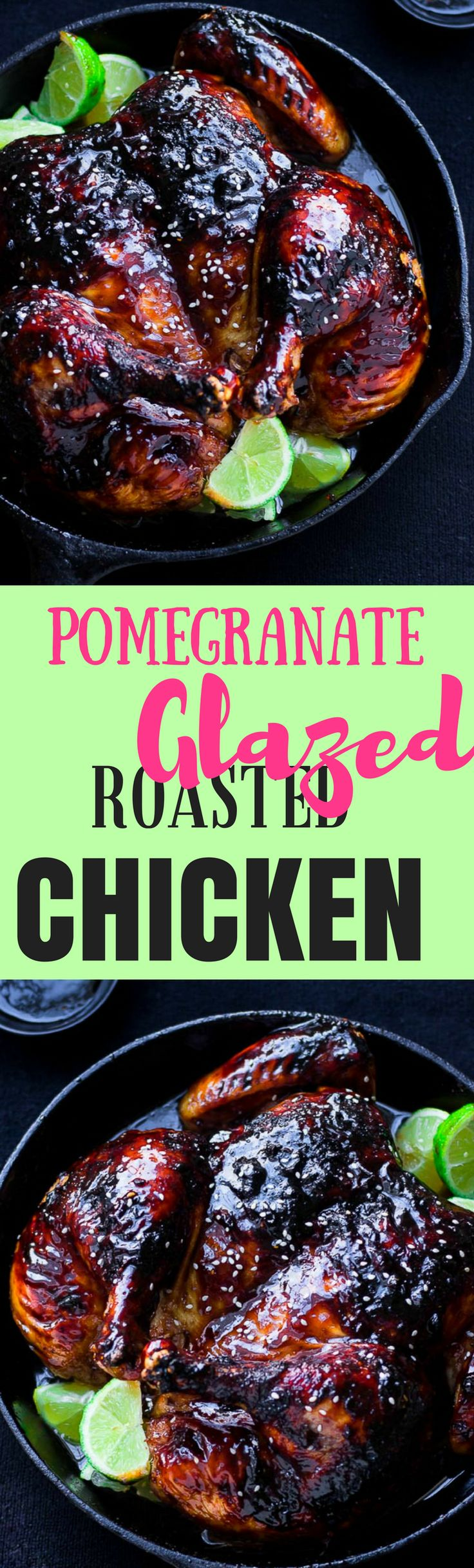 Pull dinner together in a jiffy with this delicious and super easy to prepare pomegranate lime glazed roast chicken recipe. It tastes just as good as it looks!