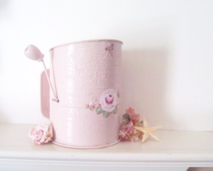 Flour Sifter Pink Vintage Painted Sifter Cottage Chic Shabby Flour Sifter Reclaimed Hand Painted Roses Pink Kitchen  Decor. $28.00, via Etsy.