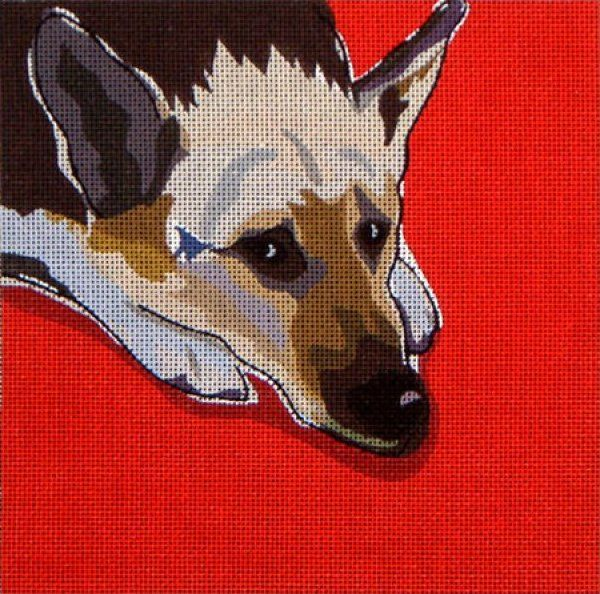 Dog Needlepoint - German Shepherd - This is the unstitched canvas (from DJ Designs). See my other pin for the stitched canvas and the great choice of a background stitch.
