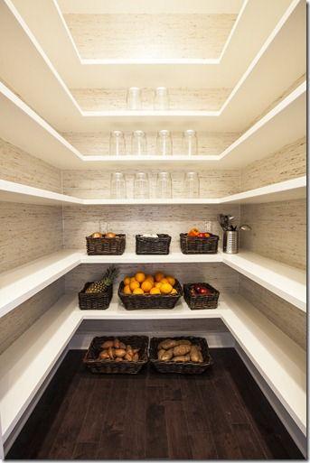 Southern Living Showcase House- Interior Tour. Plenty of shelves for kitchen needs. Love dark hardwood floors. #PantryIdeas
