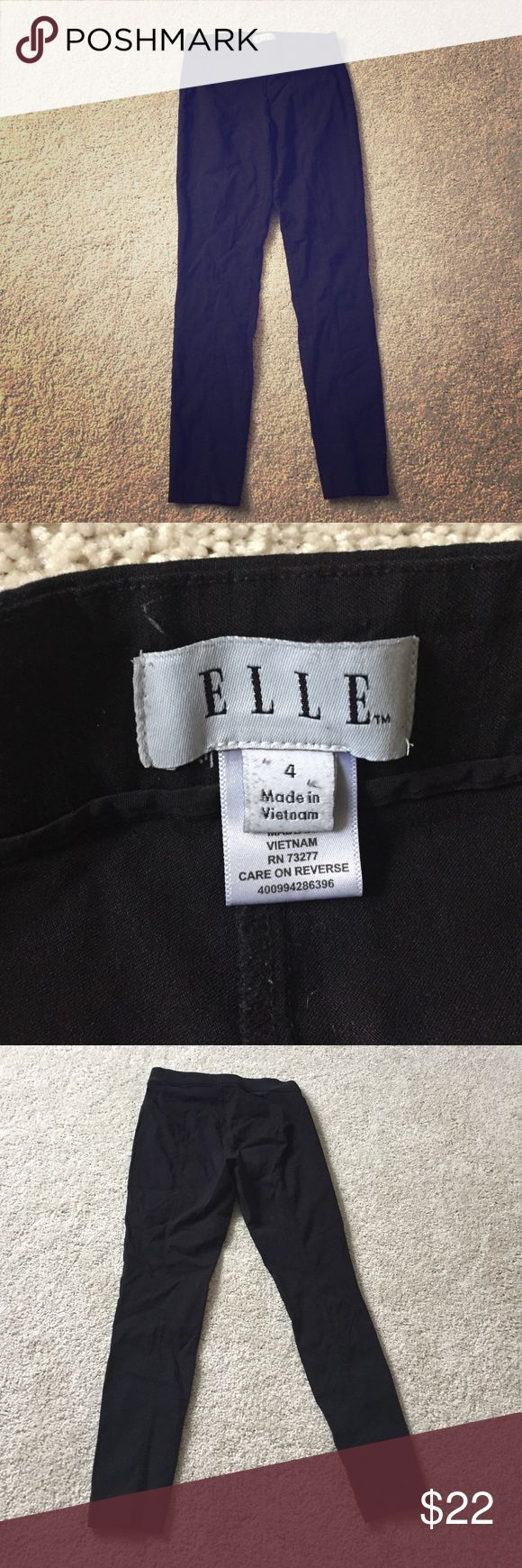 Black Skinny Pants Women's skinny black pull on pants. Great for dressing up for work or with a sweater for a casual legging look around the house! These are so comfy and well loved but in great condition! The only signs of wear are in picture 4 on the back of the pants. Size 4. Elle Pants Skinny