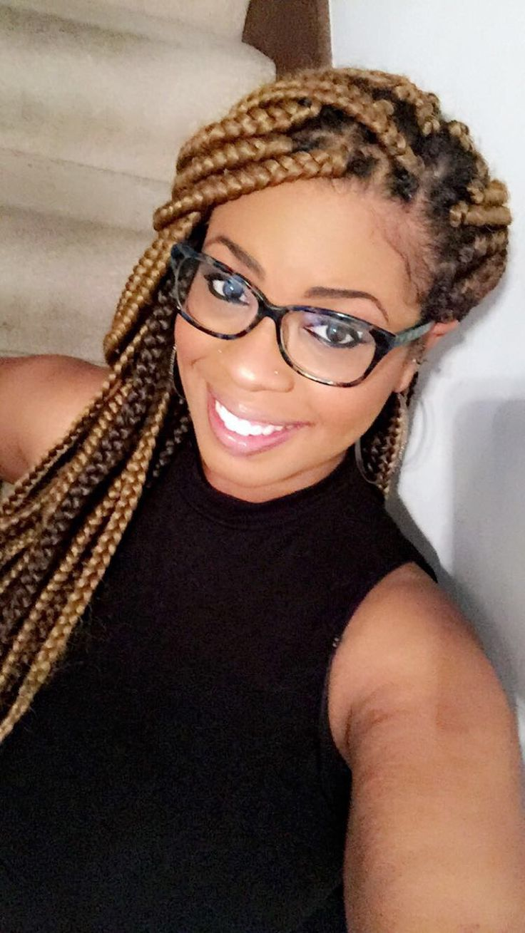 #boxbraids I did the installation of this look. In this picture I had them in for about 3 weeks. I use the the braiding hair I used was #Outre...   The colors: 27 and 8, 27 is the blonde color in the front and 8 is the light brown color I used in the back!!!    I love this look, I tried it this summer and I just tried it again in this fall!!   #protectiveHairStyles for #NaturalHair! Hope you like this look #firstclassmonique