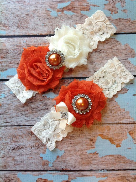 BURNT ORANGE wedding garter set / bridal  by FallenStarCoutureInc, $19.99
