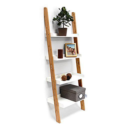 Relaxdays-Estantería de almacenamiento estilo escala Bamboo en bambú Déco H x L x P 144x 56x 34cm cuarto de baño Dormitorio estar blanco
