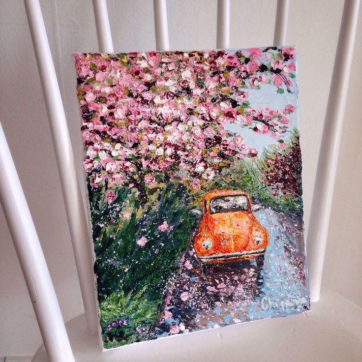 """Blossoming around the orange car"" (24*30 oil/canvas, 2015) ""Цветение над оранжевым авто"" 24*30, холст/масло, 2015г. by Chuprova Margarita"
