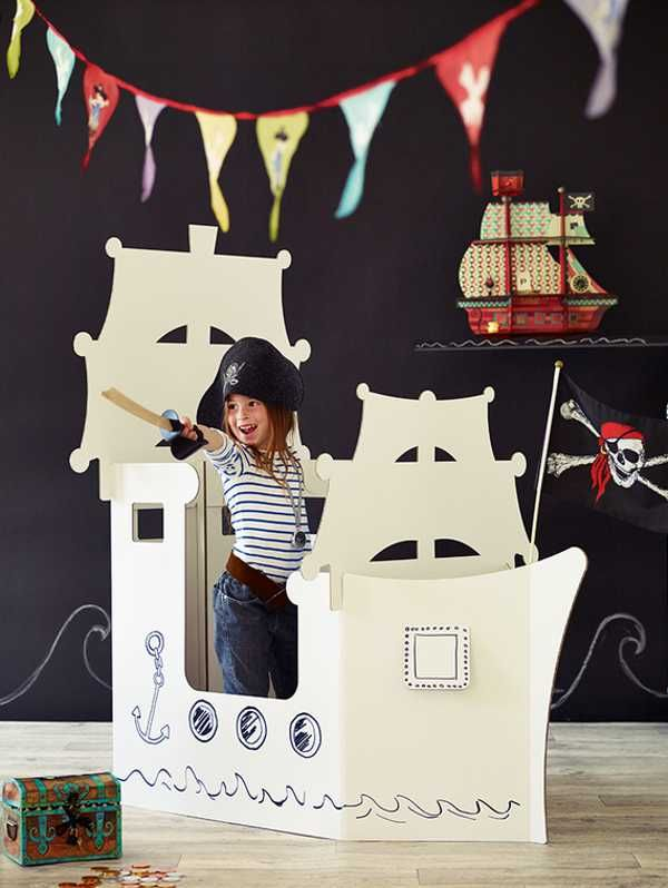 Rainy day fun with the Giant Cardboard Pirate Ship. Nx