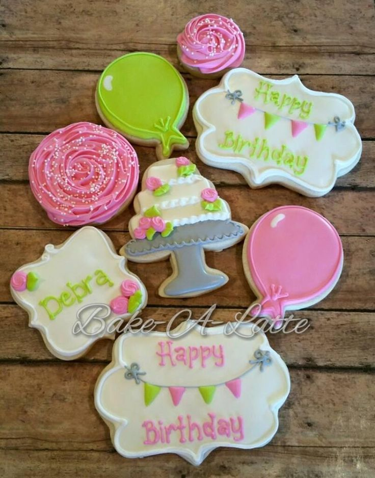 Happy Birthday Cake, Baloons and Plaques | Cookie Connection