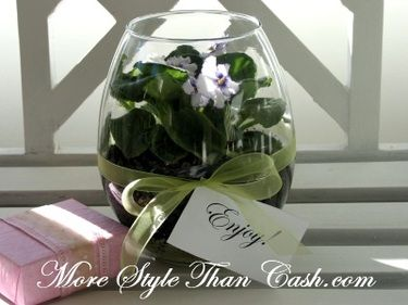 African violets in a glass. What a cute place setting or party favor for a tea or spa party. PS they sell those stemless wine glasses at Dollar Tree ;).