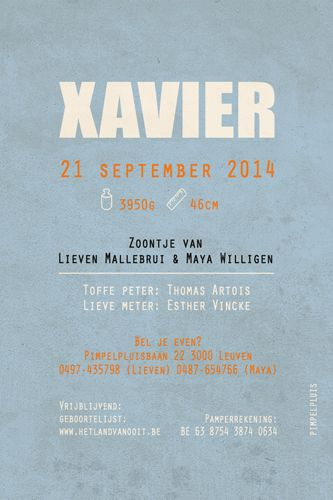 Geboortekaartje Xavier - achterkant - Pimpelpluis - https://www.facebook.com/pages/Pimpelpluis/188675421305550?ref=hl (# layout - opmaak - tekst - tekstontwerp - vintage - poster - retro - origineel)