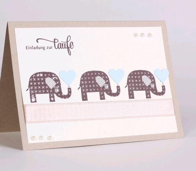 Einladungskarten - Einladung zur Taufe / blau / Elefant - ein Designerstück von Stempeldorf bei DaWanda